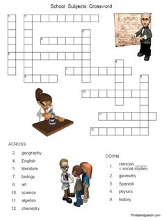 Printable Spanish FREEBIE of the Day: High School Subjects Crossword puzzle & answer key from PrintableSpanish.com