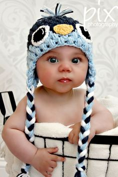 Baby Bird Beanie CROCHET PATTERN instant download - Earflap Hat by PSquared Perfections