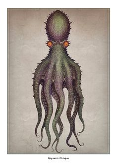 """An unknown species of gigantic octopus has been hypothesized as a source of reports of sea monsters such as the lusca and the kraken. In the French malacologist Pierre Denys de Montfo. Nature Prints, Art Prints, Octopus Drawing, Collages, Octopus Print, Octopus Tattoos, Sea Monsters, Design Graphique, Sea Creatures"