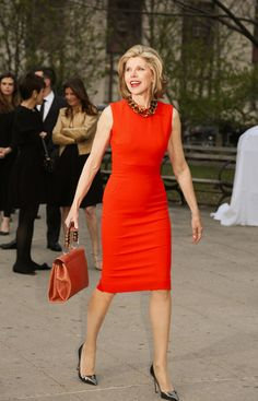 So iconic in a statement red dress! (Christine Baranski) I have church and business dresses similar to this style. Work Fashion, Fashion Outfits, Womens Fashion, Runway Fashion, Casual Outfits, Fashion Jewelry, Fashion Trends, Professional Wardrobe, Power Dressing