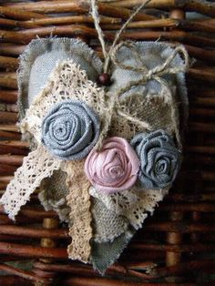 canvas and burlap flowers. Valentine Decorations, Valentine Crafts, Valentines, Lace Heart, Heart Art, Burlap Flowers, Fabric Flowers, Patchwork Heart, Fabric Hearts
