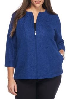 Alfred Dunner Saphire Plus Size Crescent City Knit Texture Jacket
