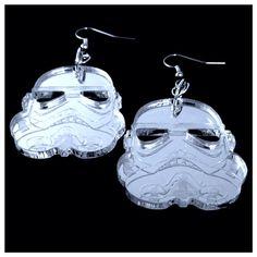 Stormtrooper Star Wars Geek Earrings, Costume Jewelry Silver Acrylic, Badass Comicon Gift on Etsy, $15.00