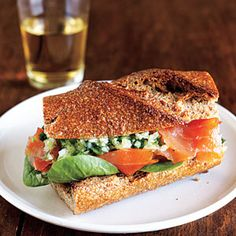 Smoked Salmon Sandwiches with Ginger Relish | MyRecipes.com NO spinach for me but substitute with romaine!!!