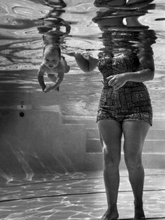 World's Youngest Swimmer Julie Sheldon, 9 Weeks Old, Swimming Underwater.   by Ed Clark