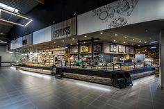 Supermarket Design, Retail Store Design, Restaurant Branding, Cafe Restaurant, Bakery Shop Design, Meat Shop, Food Retail, Cafe Interior Design, Branding Design