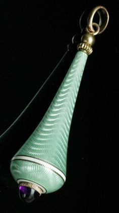 Bell Pull, Russian, 1900s, by Fabergé. Guilloché enamel, enamel, Siberian amethyst and 14K gold.