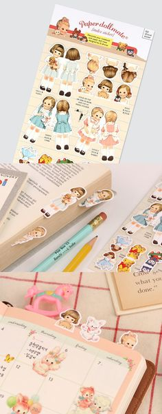 Create your own unique & adorable index with these handy Paper Doll Index Stickers! Your books, files, and notebooks will stay cute & organized! ^_^