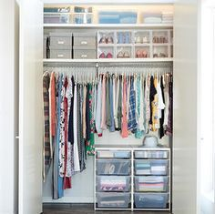 Beautiful closet design by the container store. Hall Closet Organization, Dresser Organization, Wardrobe Organisation, Organization Ideas, Jewelry Organization, Organizing Walk In Closet, Cleaning Closet, Kitchen Organization, Cleaning Hacks