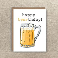 Items similar to Happy Beerthday - Beer Card - Beer Birthday Card - Birthday Card - Funny Card - Witty Card - Pun Card - Pun Birthday Card - Beer Pun on Etsy 30th Birthday Cards, Birthday Cards For Friends, Bday Cards, Diy Birthday, Happy Birthday Beer Images, Birthday Puns, Beer Puns, Birthday Card Drawing, Diy Gifts For Dad