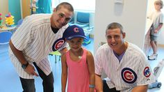 Chicago Cubs Anthony Rizzo and Tony Campana who are both cancer survivors, visited young patients at the Ann & Robert H. Lurie Children's Hospital in Chicago for a couple of hours on Wednesday (7/18/12).