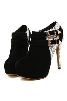 Black Suede Snakeskin Buckle Accent Sexy Booties