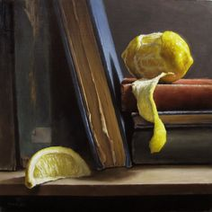 View Peeled Lemon with Antique Books by Michael Naples on artnet. Browse more artworks Michael Naples from Susan Powell Fine Art. Hyperrealism, Photorealism, Declutter Books, Still Life Fruit, Fruit Painting, Still Life Photos, Realism Art, Still Life Photography, Antique Books