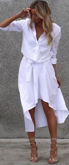 #summer #cool #outfits |  White Shirt   White Hi-Lo Skirt