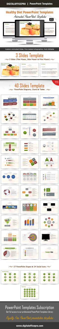 Impress and Engage your audience with Healthy Diet PowerPoint Template and Healthy Diet PowerPoint Backgrounds from DigitalOfficePro. Each template comes with a set of PowerPoint Diagrams, Charts & Shapes and are available for instant download.