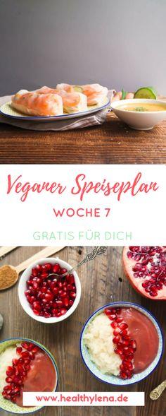 Alle meine Lieblings-Rezepte vereint: Irgendwie macht die Erstellung der veganen Speisepläne echt Spaß. Auch mir gibt der Speiseplan mehr Struktur. Ich kann meine Einkäufe besser planen und weiß genau, auf welche Gerichte ich mich freuen kann. Hier kommt der vegane Speiseplan für die Woche 7: vegan, vieles glutenfrei, ohne Soja & fettarm! #vegan #veganerezepte #rezepte #speiseplan
