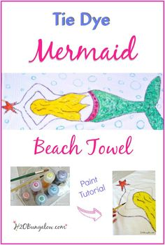 Make a fun tie dye mermaid beach towel using the painting technique with Tulip Tie-Dye kits.  Tutorial by H2OBungalow #TieDyeYourSummer @ilovetocreate