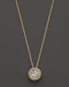 Bezel Set Diamond Solitaire Pendant Necklace in 14K Yellow Gold, .40 ct. t.w. | Bloomingdale's