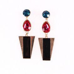 8x2.2cm Fashion Trapezoid Shape Earring Drop with Crystal Women Ladies Jewelry Earrings