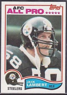 "1982 JACK LAMBERT - Topps ""ALL PRO"" Football Card- # 213 - PITTSBURGH STEELERS"