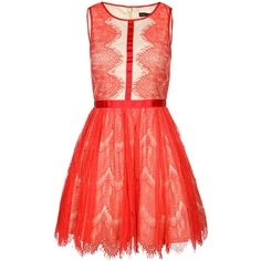 Forever Unique Mina Lace Dress (£78) ❤ liked on Polyvore featuring dresses, vestidos, short dresses, formal dress, coral, red lace dress, red cocktail dress, short cocktail dresses, lace cocktail dress and short lace dress
