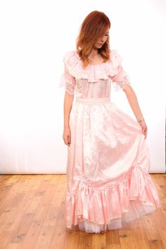 Pale pink / baby pink with white lace satin dress. great for fancy dress, hen partys photoshoots or for the theatre. there is a flash on my camera so the item pictured is that what you will receive. | eBay!