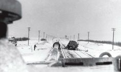 View from a German Panther Ausf A/G tank turret, traveling down a winter road.