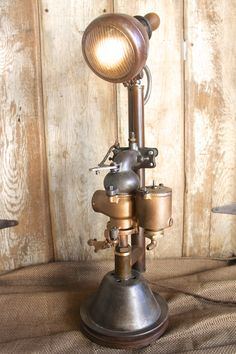 Vintage Industrial Style Table Lamp, Carburetor Light, Tractor Lite, Eclectic Lamp, Steampunk Lighting