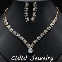 CWWZircons Luxury Yellow Gold Color African Cubic Zircon Beads Wedding Bridal Costume Jewelry Sets For Wedding Brides T085
