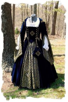 Custom Embroidered Velvet Court Gown Renaissance SCA by FaireWares