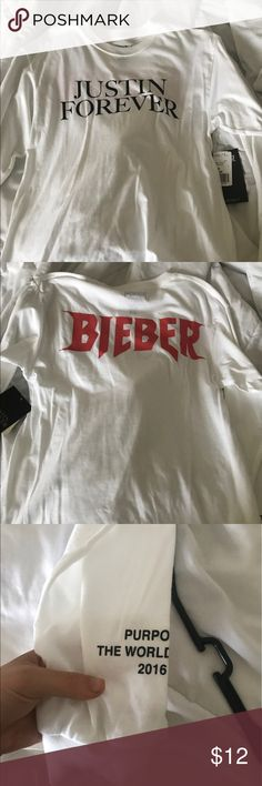 Justin Bieber Purpose World Tour Shirt F21 NWT long sleeve t shirt from Forever 21   Justin Bieber merch Forever 21 Tops Tees - Long Sleeve