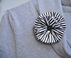 Black and White Striped Fabric Flower by mcclellansn on Etsy, $6.00