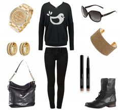 #Herbstoutfit Black and gold ♥ #outfit #Damenoutfit #outfitdestages #dresslove