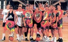 Lithuanian national basketball team at the 1992 Olympics in Barcelona with Grateful Dead t-shirts