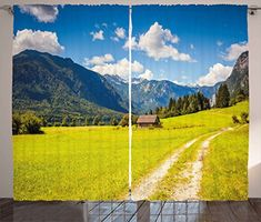 Nature Curtains by Ambesonne Julian Alps Mountain Valle Rural with Wooden Country House Paradise Picture Living Room Bedroom Window Drapes 2 Panel Set 108W X 63L Inches Lime Green Sky Blue * BEST VALUE BUY on Amazon #Curtains