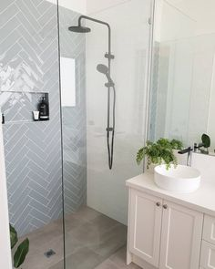 Upstairs Bathrooms, Downstairs Bathroom, Bathroom Renos, Laundry In Bathroom, Bathroom Feature Wall Tile, Blue Bathroom Tiles, Light Grey Bathrooms, Family Bathroom, Modern Bathroom Design