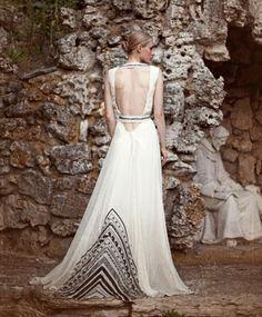 bona drag mara hoffman black beaded bodice gown    Nuptialista.com