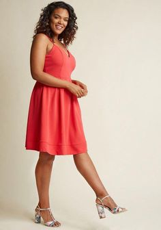 859eee2d9 Spaghetti Strap Plus Size Dress in Coral. I love the look of this dress,