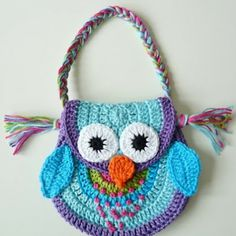 crochet owl purse idea,  she would love this.. perfect colors