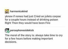 Romeo and Juliet Funny Quotes, Funny Memes, Hilarious, Best Of Tumblr, Tumblr Stuff, Lol, Classic Literature, Funny Stories, Tumblr Funny