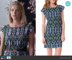 Hanna's blue and green snake print dress on Pretty Little Liars.  Outfit Details: http://wornontv.net/50753/ #PLL