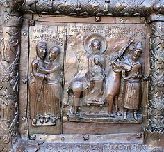 Famous bronze west entrance gates of St.Sophia Cathedral in Veliky Novgorod (ca.1146) - the Virgin Mary and St.Elizabeth and the Holy family flight into Egypt