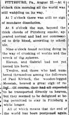 newspaper mocks the world NOT ending in 1911. love.