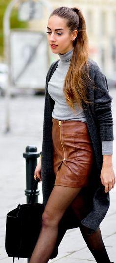 Camel Zip Detail Leather Midi Skirt