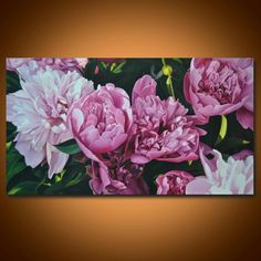 Size: 60 x 110 cm / x in Peony painting Pink paeonia Flower painting Hyperrealism painting Realism flowers Decor Canvas painting Natu Painting & Drawing, Plant Drawing, Oil Painting Flowers, Large Painting, Painting Canvas, Hyperrealism Paintings, Flower Oil, Arte Floral, Painting Inspiration