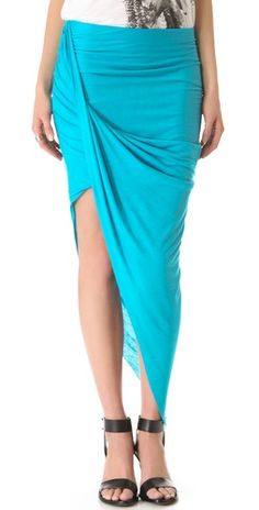 Helmut Lang Assymetric Wrap Skirt - Turqoise $140 http://rstyle.me/~rtPz
