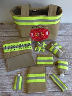 Firefighter Wife Medium Purse Ultimate Set , Purse, Wallet, and 8 matching accessories via Etsy