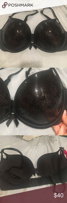Sequin Victoria's Secret Sexy Little Things... Bra Victoria's Secret Sexy Little Things... Bra. Black sequin front with push up. Excellent condition, never worn. Victoria's Secret Intimates & Sleepwear Bras
