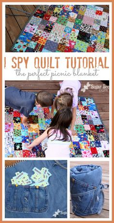 here's how to make an I Spy Quilt, with a great tutorial - - there are awesome picnic blankets, and I love how they entertain the kids on the sidelines