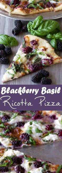 Dress up your pizza with something a little different in this Blackberry Basil Ricotta Pizza. It's elegant. It's simple. And it's totally delicious! Pizza Blackberry, Basil, and Ricotta Pizza Ricotta Pizza, Ricotta Cheese Recipes, Vegan Ricotta, Prosciutto Pizza, Clean Eating, Healthy Eating, Cooking Recipes, Healthy Recipes, Food Dinners